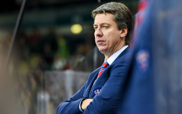 Harijs Vitolins speaks before playing Lokomotiv in the KHL playoffs