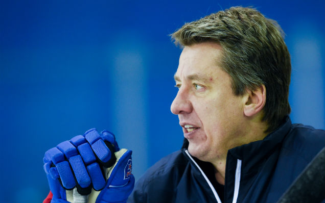 Harijs Vitolins speaks before playing CSKA Moscow in the KHL playoffs